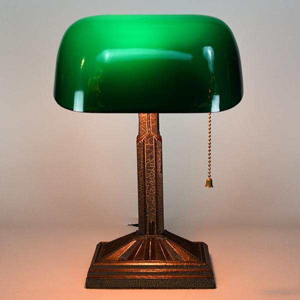 Eagle Art Deco Desk Lamp Vintage Glass Lighting