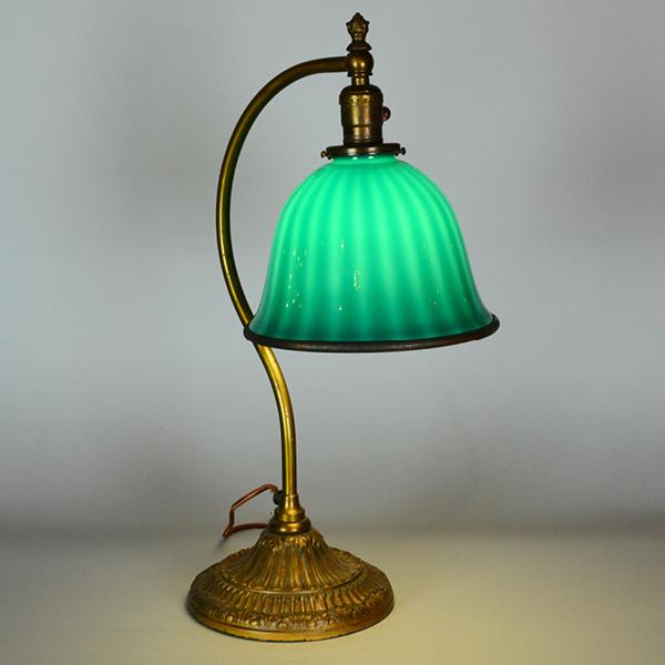 Emeralite 8 Quot Desk Lamp With Zebra Shade Vintage Glass Lighting