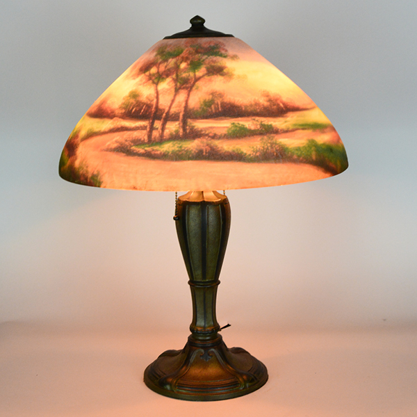 Jefferson Reverse Painted Vintage Lamp | Vintage Glass Lighting