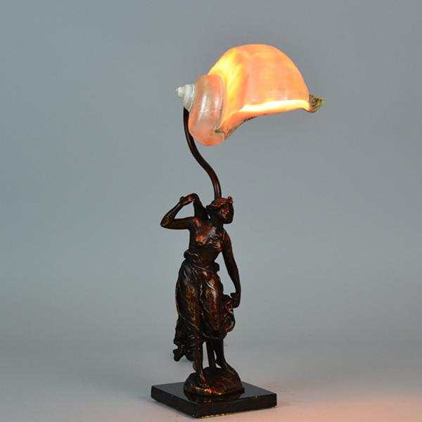 figural marble base nautical shell shade lamp vintage. Black Bedroom Furniture Sets. Home Design Ideas