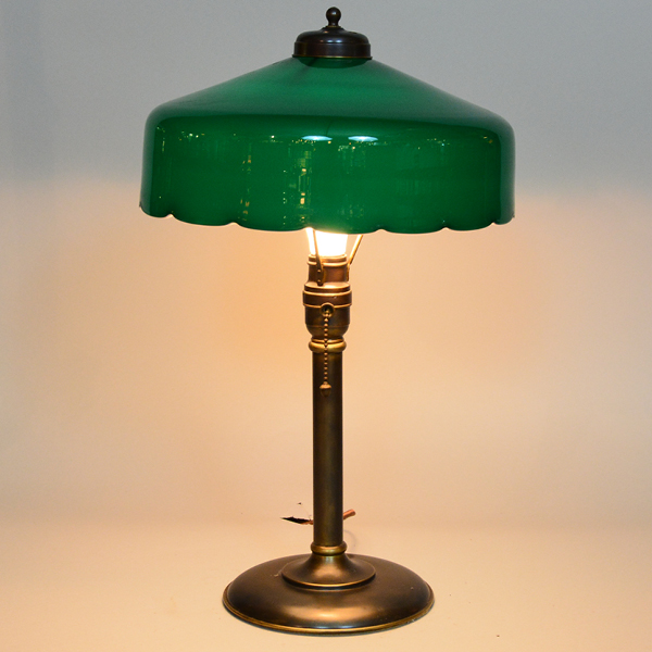 Emeralite Scallop Edge Vintage Lamp | Vintage Glass Lighting