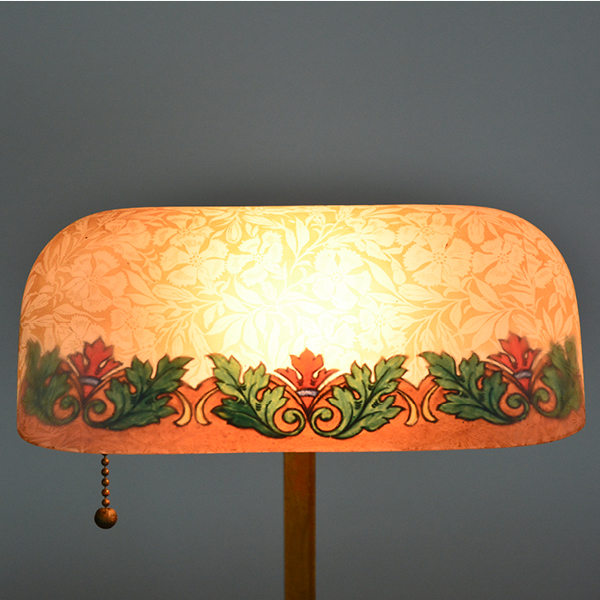 Etched Metal Lamp Shade: Emeralite Reverse Painted Acid Etched 8734 Shade, Desk