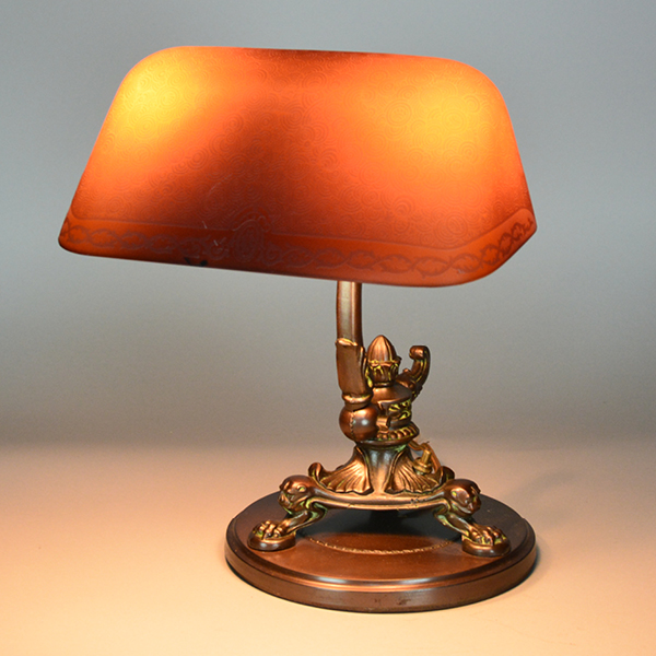 Emeralite Amber Etched Vintage Lamp | Vintage Glass Lighting
