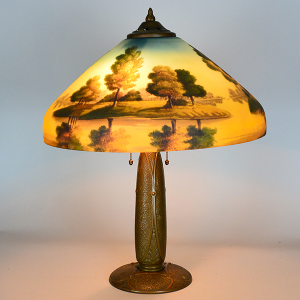 Phoenix Landscape Art Nuveau Vintage Lamp | Vintage Glass Lighting