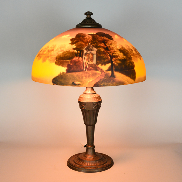 Phoenix Reverse Painted Landscape Vintage Lamp | Vintage Glass Lighting