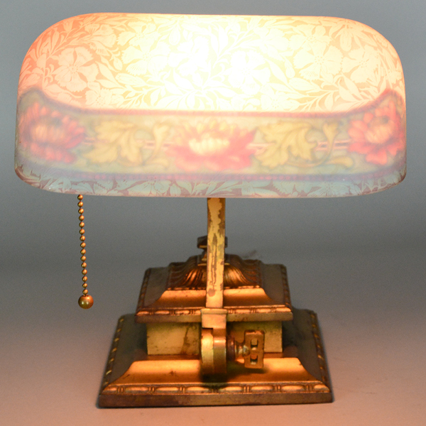 bellova peach antique desk lamp|Vintage Glass Lighting