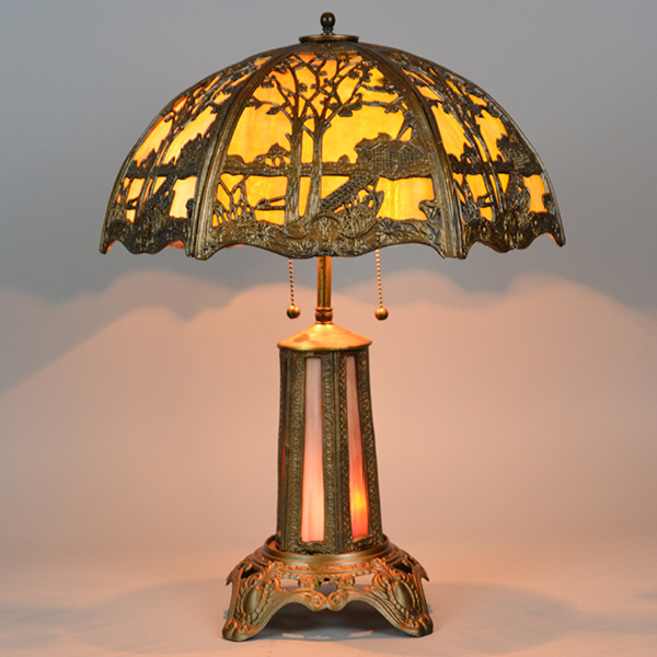 1920's Panel lamp, lighted base, overlay shade