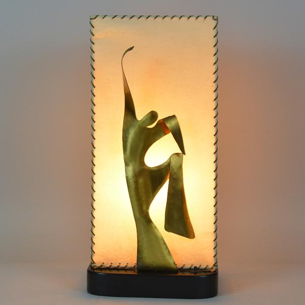 Heifetz Modern Parchment, Wooden and Brass Figure Lamp cir. 1940s_3