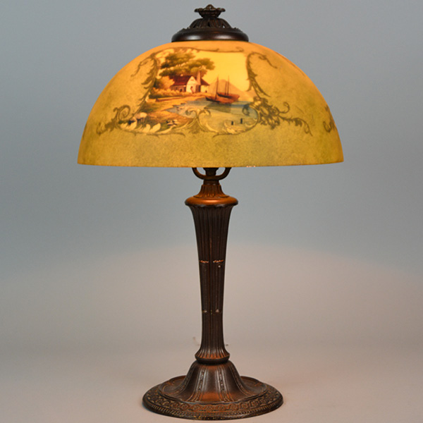 Jefferson reverse painted 14 inches - 4 sided painted lamp