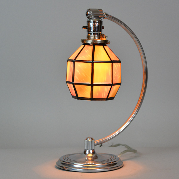 chase base circa 1930 with an art glass shade