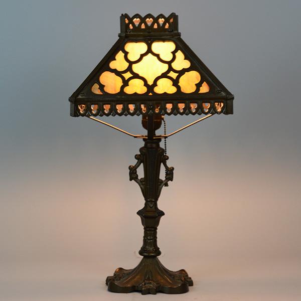 circa 1920s 11 inch cast panel lamp