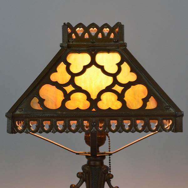 circa 1920s 11 inch cast panel lamp_2