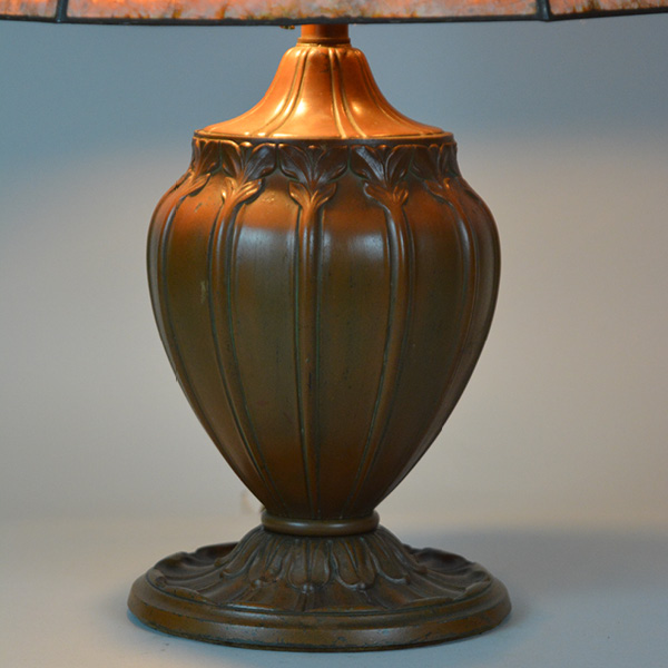 circa 1920s mica 6 panel table lamp - overlay design on panels_4