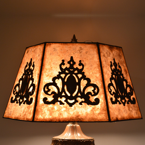 circa 1920s mica 6 panel table lamp - overlay design on panels_7